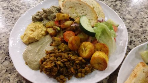 Plantains serving suggestion - side dish to lentils, hummus, oven baked vegetables and salad!